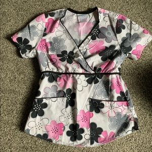 XS Small Pink & Black Scrub Top